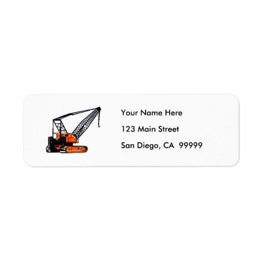 Orange Construction Crane Return Address Label