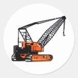 Orange Construction Crane Round Sticker
