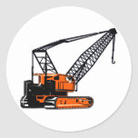 Orange Construction Crane Round Stickers