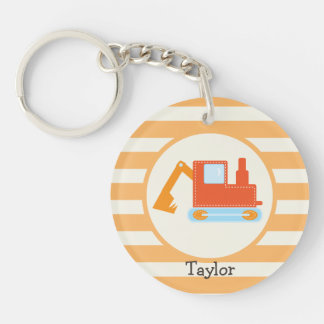 Orange Construction Toy Backhoe Acrylic Key Chain