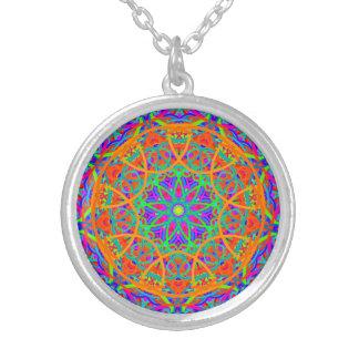 Orange Contrast Mandala Silver Plated Necklace