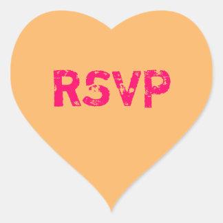 Orange Conversation Heart RSVP Heart Sticker