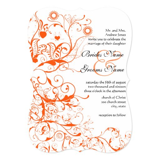 Orange Coral Birds & Swirls Wedding Invitations