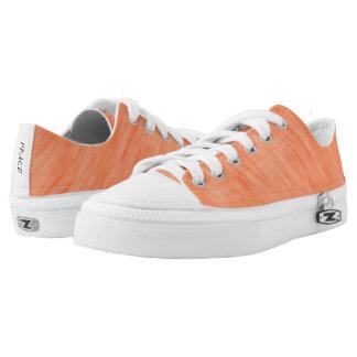 Orange Coral Wind Pattern Low Top Canvas Shoes