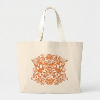Orange Cosmic Flower Explosion Large Tote Bag