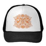Orange Cosmic Flower Explosion Mesh Hat