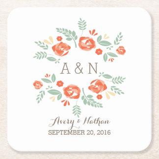 Orange Country Floral Monogram Paper Coasters