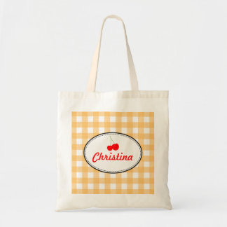 Orange country gingham pattern red cherry personal budget tote bag
