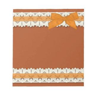 Orange country lace ribbon bow large notepad