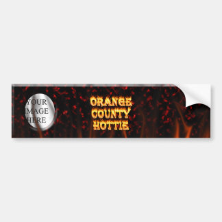 Orange county hottie fire and flames Red marble. Bumper Sticker