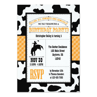 Orange Cowhide Cowboy Birthday Invitation