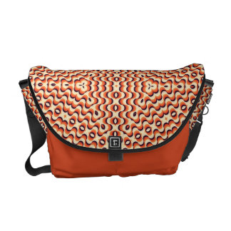 Orange, Cream, Brown Floral Art Seamless Courier Bag