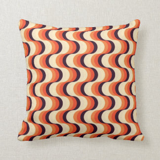 Orange, Cream, Brown Retro Fifties Abstract Art Cushion