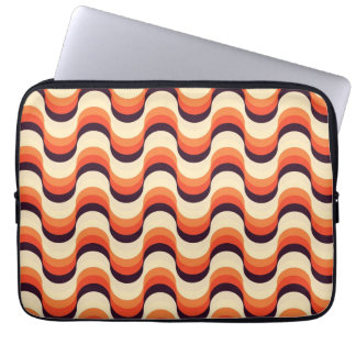 Orange, Cream, Brown Retro Fifties Abstract Art Laptop Computer Sleeves
