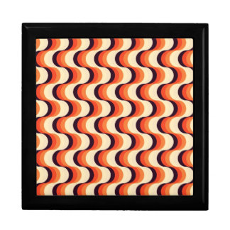 Orange, Cream, Brown Retro Fifties Abstract Art Large Square Gift Box