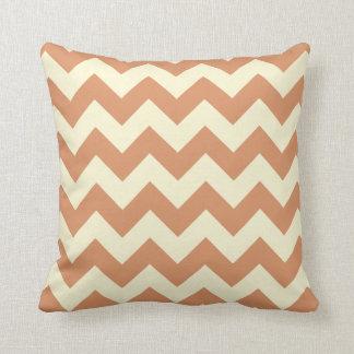 Orange & Cream Chevron Zigzag Pattern Throw Pillow