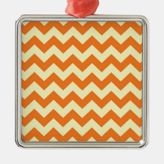 Orange Cream Citrus Chevron ZigZag Stripes Gifts Metal Ornament