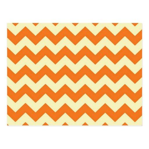 Orange Cream Citrus Chevron ZigZag Stripes Gifts Post Cards