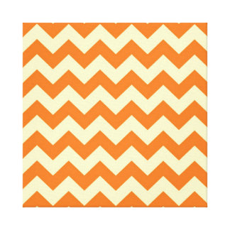Orange Cream Citrus Chevron ZigZag Stripes Gifts Stretched Canvas Prints