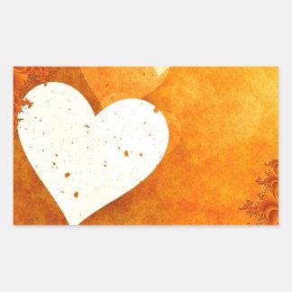 ORANGE CREAM HEATS LOVE DIGITAL BACKGROUNDS WALLPA RECTANGULAR STICKER