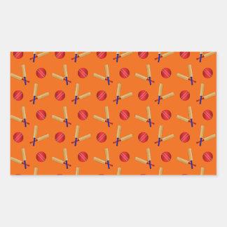 orange cricket pattern rectangular sticker