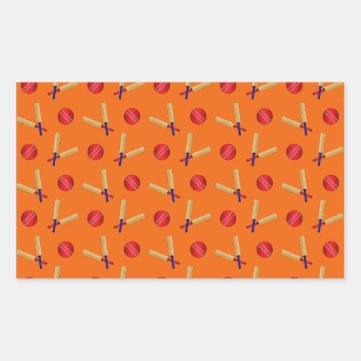 orange cricket pattern rectangle stickers
