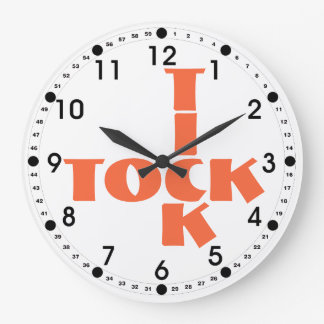 Orange Crossword Tick Tock Text Large Clock