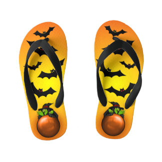Orange Crystal Ball Witch and Bats Kid's Thongs