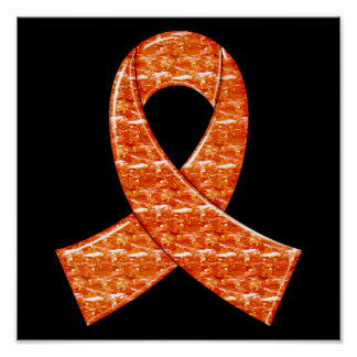 Orange Crystal Ribbon Kidney Cancer MS Leukemia Poster