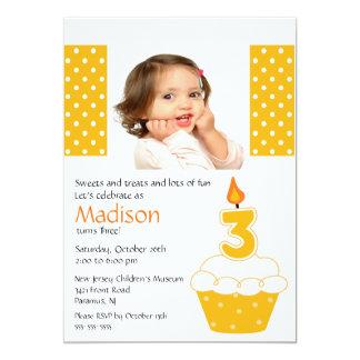 "Orange Cupcake Photo 3rd Birthday Invitation 5"" X 7"" Invitation Card"