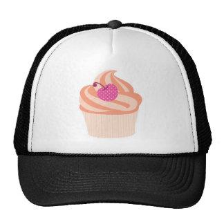 Orange Cupcake with Pink Cherry and Orange Stripes Cap
