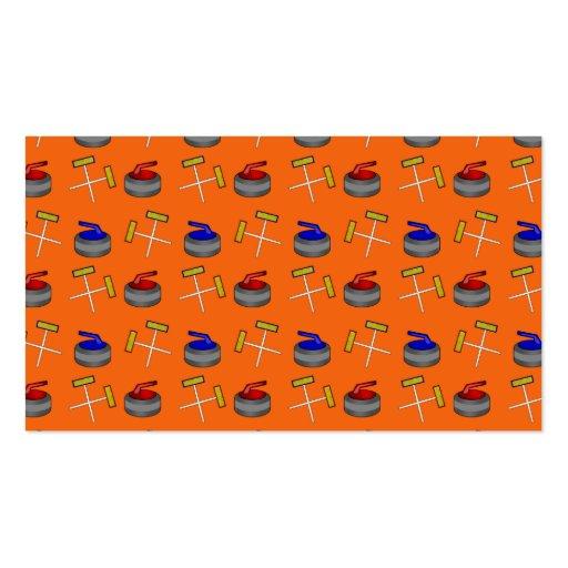 orange curling pattern business cards