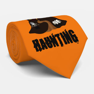 Orange Custom Halloween Haunted House Tie