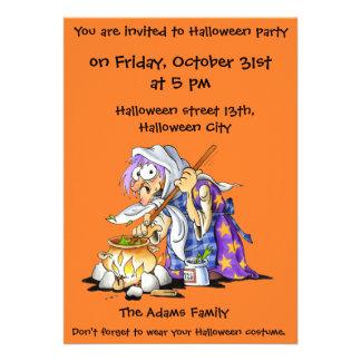 Orange Custom Halloween Party Invitations - Witch