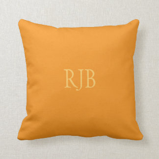 Orange custom initials monogram cushion pillow