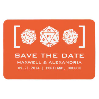 Orange D20 Dice Gamer Save the Date Magnet