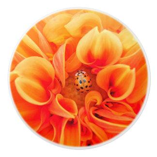 Orange Dahlia and Ladybug Ceramic Knob