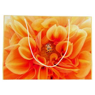 Orange Dahlia and Ladybug Large Gift Bag