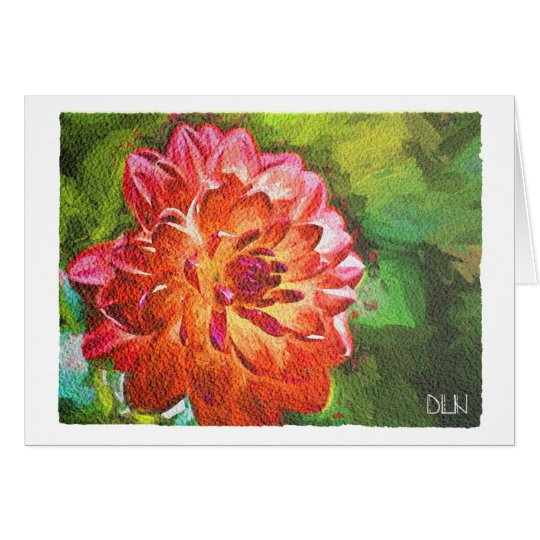 Orange Dahlia/Floral  Art/Watercolor Look Card