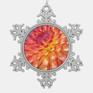 Orange dahlia flower pewter snowflake decoration