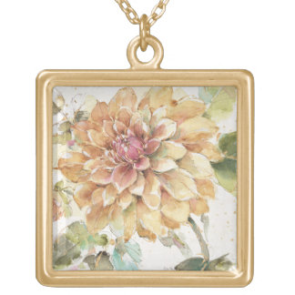 Orange Dahlia Gold Plated Necklace