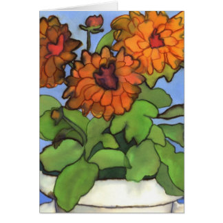 Orange Dahlia Greetings Card