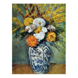 Orange Dahlias in a Vase of Delft, Paul Cezanne fl Postcard