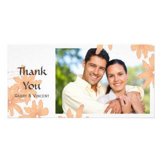 Orange Daisies on White Thank You Photo Card Template
