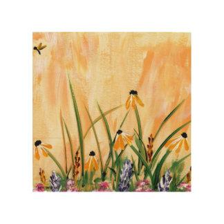 Orange Daisies Wood Canvas