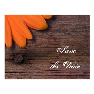 Orange Daisy and Barn Wood Wedding Save the Date Postcard