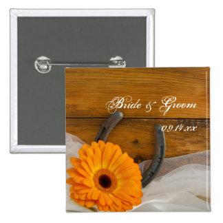 Orange Daisy and Horseshoe Country Western Wedding 15 Cm Square Badge
