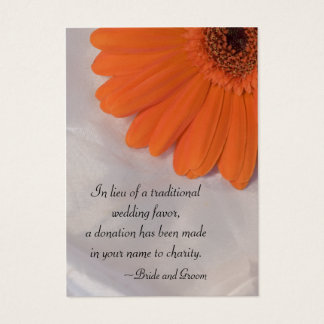 Orange Daisy and Satin Wedding Charity Favor Card