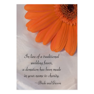 Orange Daisy and Satin Wedding Charity Favor Card Pack Of Chubby Business Cards