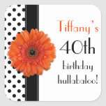 Orange Daisy Black White Polka Dot 40th Birthday Square Stickers